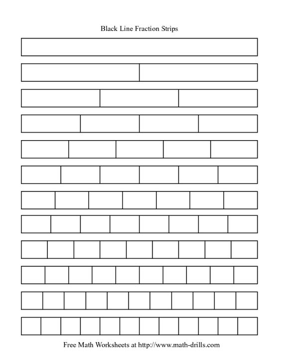 math worksheet : blackline fraction strips  need these for my math journals to  : Fraction Bars Worksheet