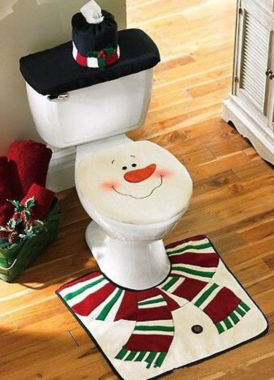 Snowman Santa Toilet Seat Cover and Rug Set for Bathroom, Christmas Decorations, Set of 4