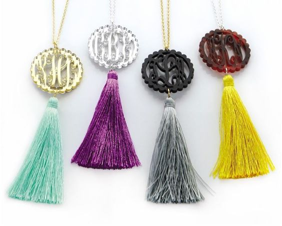 Acrylic medallion features your 3 initial monogram in your choice of color and tassel, the perfect personalized statement necklace!