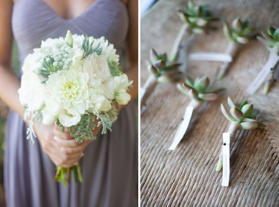 Wedding Row Grand Strand | Real Myrtle Beach Weddings | Succulent Boutonnieres