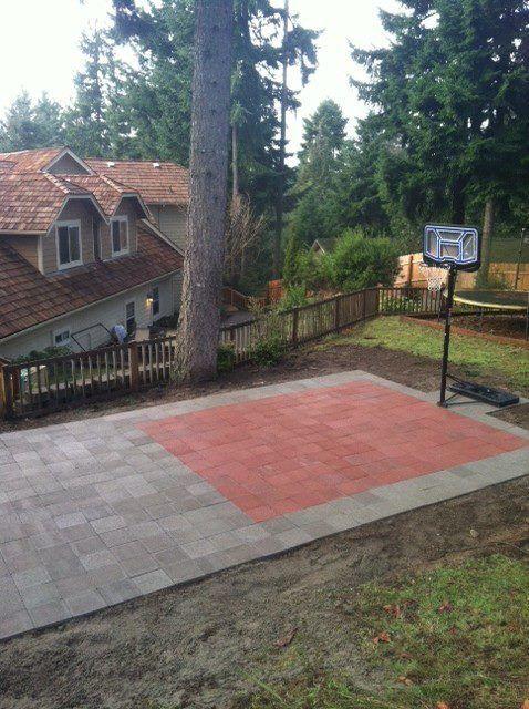Side Yard Basketball Court Possiblyput A Net Behind It Basketball Court Backyard Backyard Basketball Backyard