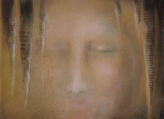 Stille - Malerei,  24x18 cm ©2014 von Ralf Czekalla -                                                                                                                        Figurative Kunst, Symbolismus, Leinwand, Geistigkeit, Körper, Menschen, Portraits, Sterblichkeit, stille, einsamkeit, portrait, öl, ölmalerei, czekalla, laut, medien, zeitung, art, kunst, bild, kunstverkauf, frau, mädchen, gesicht, leben, träumen, sachsen, gemälde