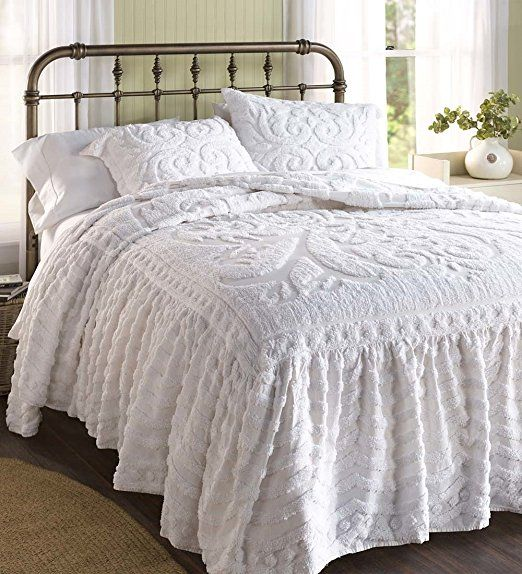Flourish Skirted Chenille Bedspread Queen In White With Images Bed Spreads Small Room Bedroom Chenille Bedspread