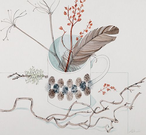 Angie Lewin - Cup with Red Stem