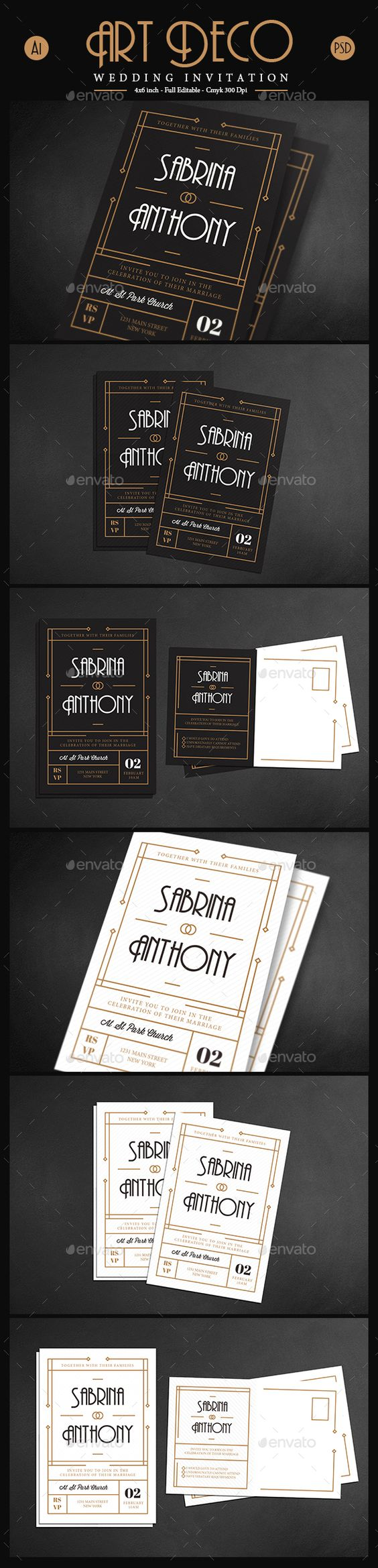 Art deco wedding invitation card vol 03 deco wedding invitations art deco wedding and country - Deco vol ...