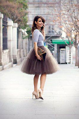 5 Layers 55cm Womens Midi Tulle Skirt Princess Adult Tutu Skirts Ball Gown
