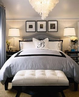 Classic master bedroom. Great lighting, sophistication at its finest. I Want a chandelier in the master