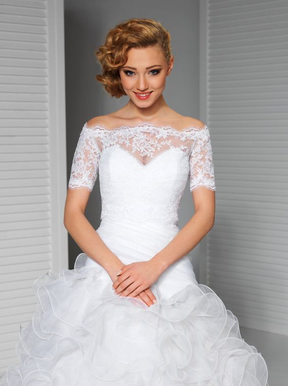 Spitzen Braut Topper in Ivory oder weiß von MeshkaBridal auf Etsy