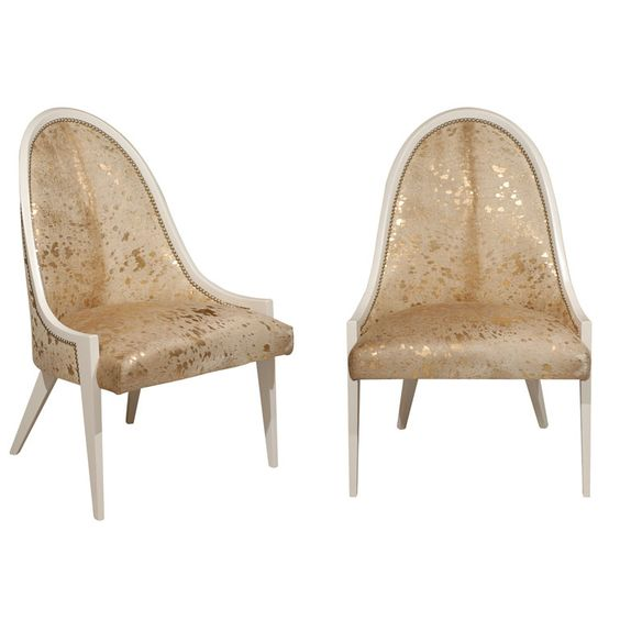 Gold Hide Slipper Chairs