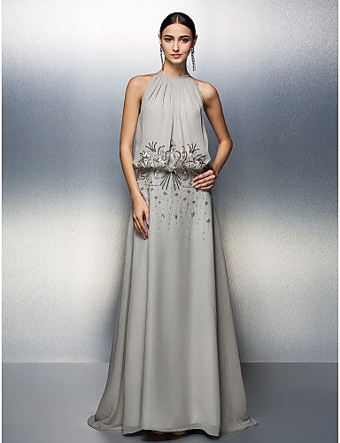 A-line Jewel Floor-length Chiffon Evening Dress – AUD $ 185.89