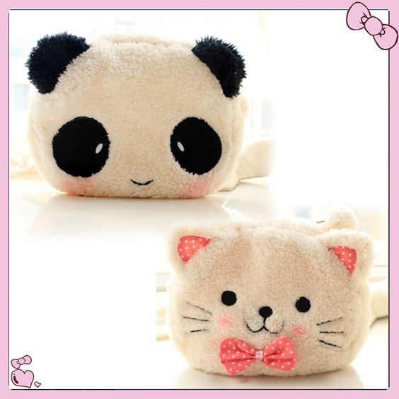 $2.98 (Buy here: http://appdeal.ru/4w35 ) NEW Cute Cartoon Cat Shape Soft Plush Cosmetic Makeup Bag Pouch with Pen Pencil Case Black Pink Clearance sale Free Shipping for just $2.98