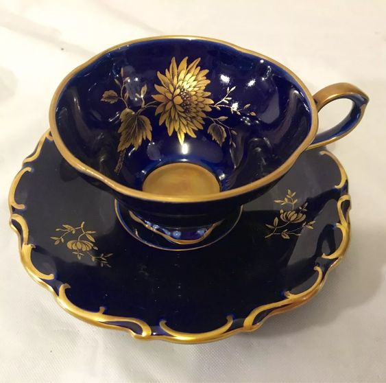 lindner handarbeit xicara café azul cobalto e antique gold