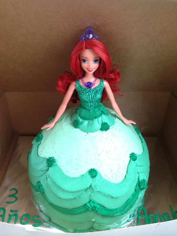 My little girl 3 year old little mermaid princess birthday cake
