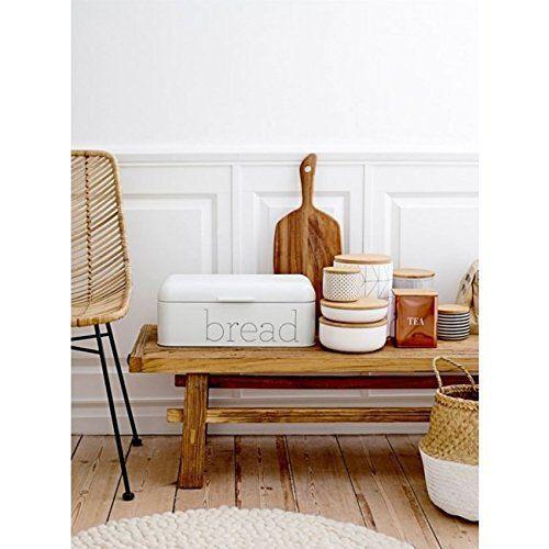 Bloomingville A97306648 Metal Bread Bin White Decor Home Decor Kitchen Lawn Furniture Cushions