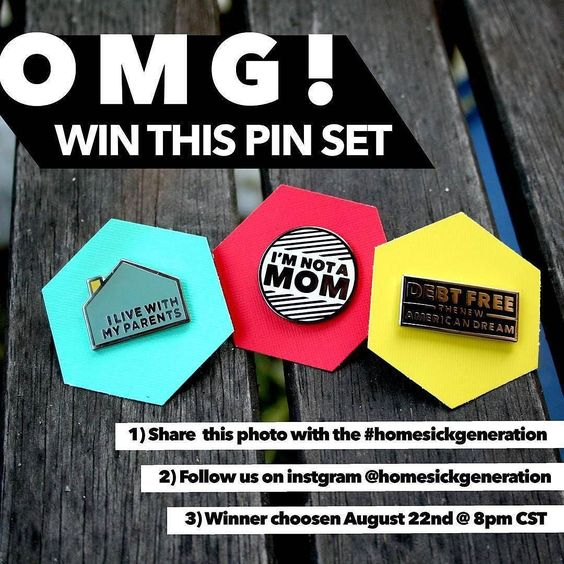 #Repost @homesickgeneration   GIVEAWAY!  Follow us and share this photo with the #homesickgeneration to win our complete pin set . (open to international!) . . . . . #pingame #hardenamel #win #giveaway #contest #sharetowin #patchgame #design #ilivewithmyparents #debtfree #americandream #imnotamom #broadycity #merch #omg #blackandwhite #geometric    (Posted by https://bbllowwnn.com/) Tap the photo for purchase info. Follow @bbllowwnn on Instagram for more great pins! #pinmakerssupergroup