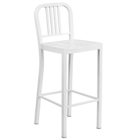 Flash Furniture 30'' High White Metal Indoor-Outdoor Barstool [CH-31200-30-WH-GG]
