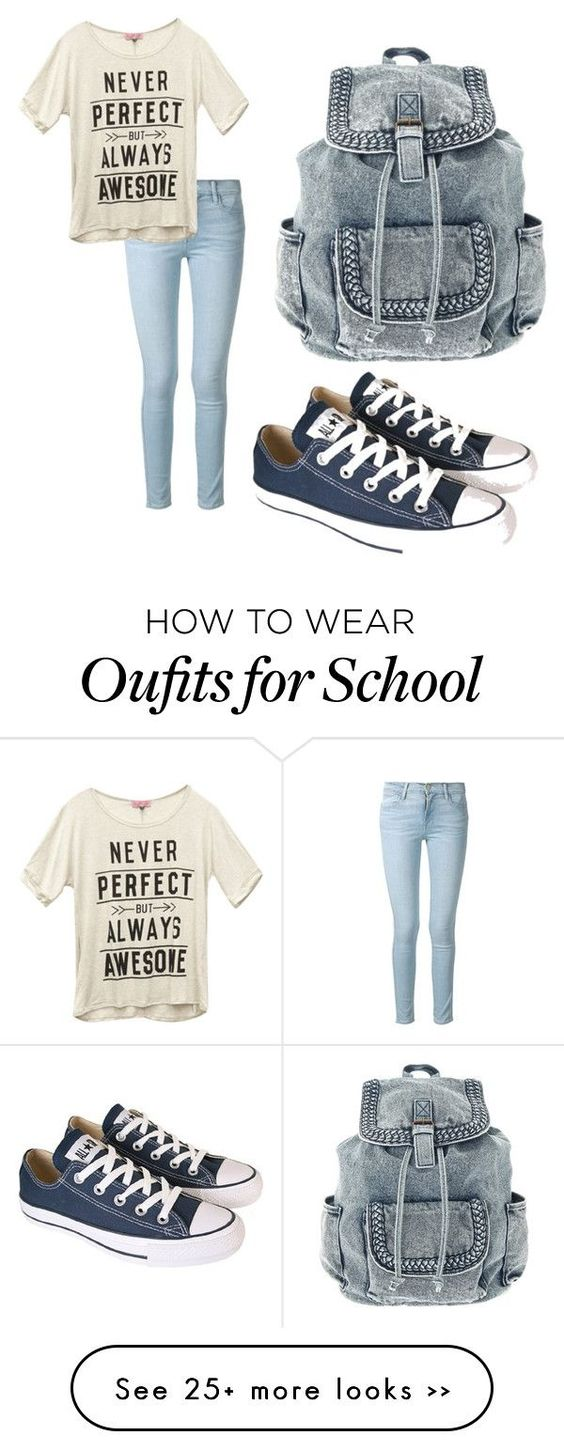 """""""Back to school"""" by blessedtdlee3 on Polyvore featuring Frame Denim, Wet Seal and Converse"""