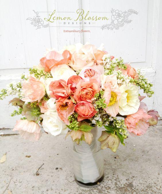 romantic coral garden bouquet