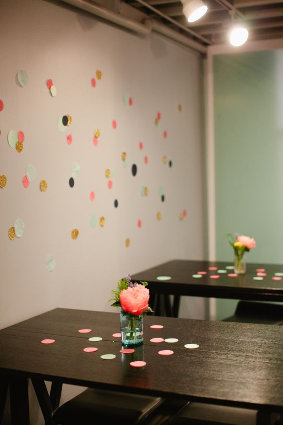 polka dot wall - a very pretty and simple way to decorate walls for a party.  from a blog i follow, lovelylittledetails.com