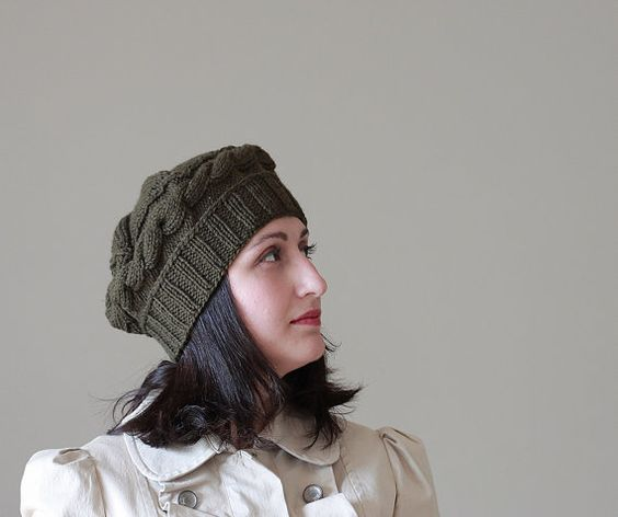 womens knit hats Dark Green knit hat knitted hat by SENNURSASA, $30.00