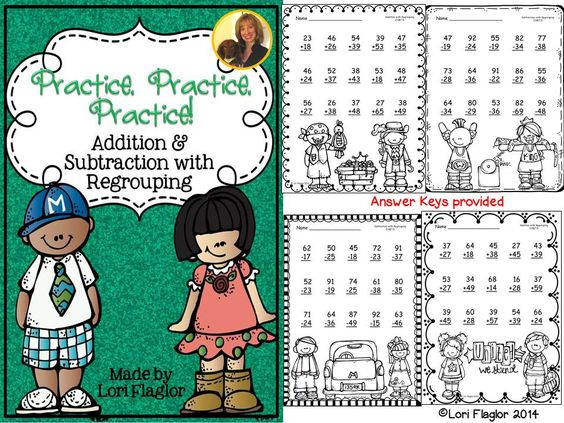 So cute and it's FREE! Addition and Subtraction with Regrouping Printables.