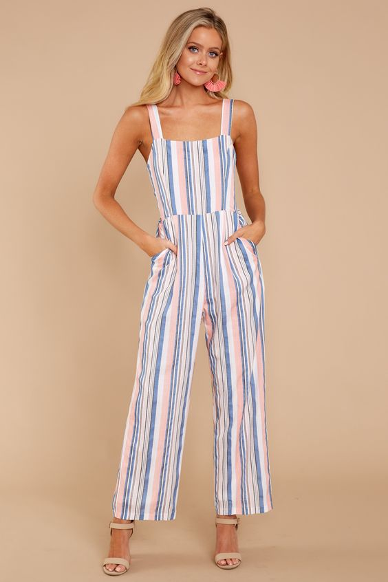 Trendy Pink Multi Striped Jumpsuit - Cute Striped Jumpsuit - Jumpsuit - $46.00 – Red Dress Boutique