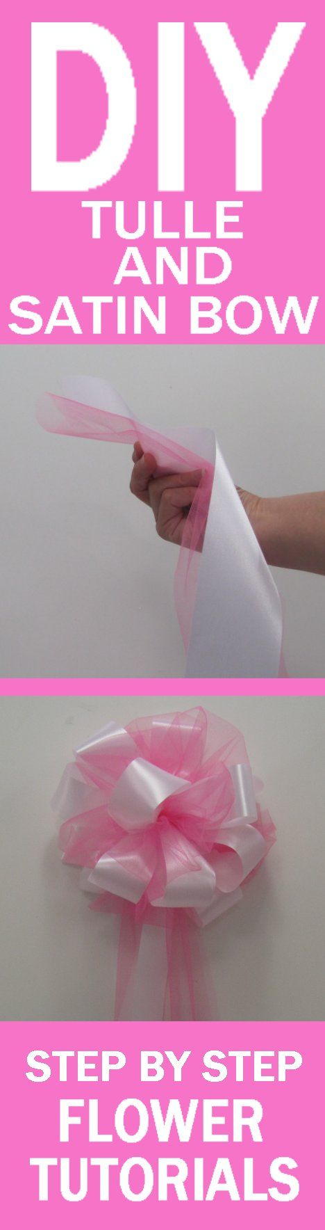 Satin and Tulle Pew Bow - Easy and Free Wedding Tutorials  Learn how to wedding flowers and decorations!