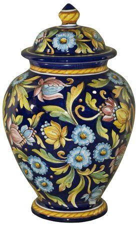Italian Ceramic Centerpiece Urn - Blue Floral