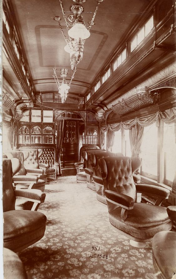 American parlor car - train interior, c.1888. Created by, the George Pullman Palace Car Company. An ornate way to travel, during America's Gilded Age era. ~~ {cwl}  ~~(Image:Smithsonian)