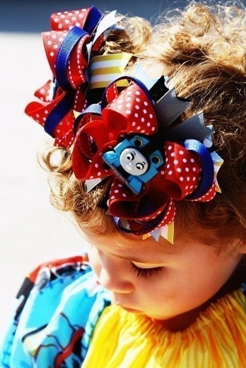 Thomas the Train Boutique Hairbow READY TO SHIP by SweetnessBows, $13.50
