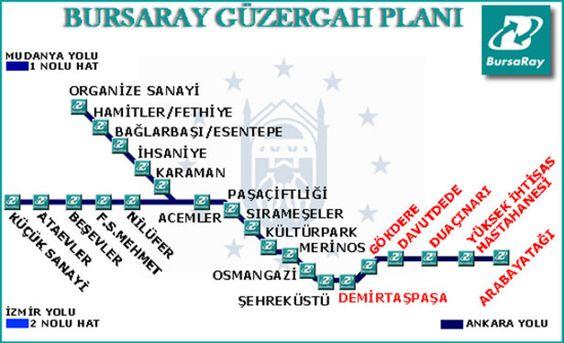 BursaRay ist das Bahnverkehrssystem von Bursa, eine der wichtigsten Städte in der Türkei. Es wurde von Tüvasaş gebaut und im Jahre 2002 in Betrieb. Dieses System hat eine Gesamtlänge von 31 km, aber es gibt weitere 20 km im Bau. Es verfügt über 2 Linien, die Nordlinie und die Ost-West-Linie. Von den 32 projizierten Stationen sind zurzeit 23 gebaut, und es gibt 48 aktive Züge. #bursa #bursaray #karte