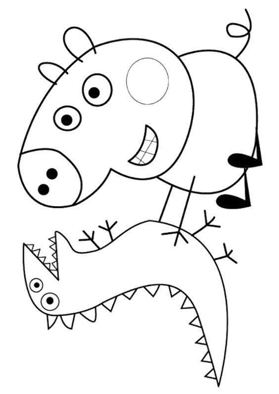 print coloring image Coloring Facebook and Peppa pig