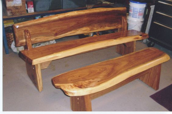 Log Furniture Bench Set Rustic Bench and Table Set.