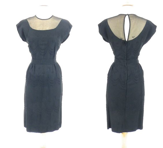 1950s Wiggle Dress, Vintage 50s Dress, Little Black Dress, Silk Illusion Cocktail Dress, Small by daisyandstella on Etsy