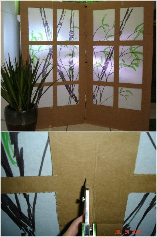 Diy Upcycled Cardboard Room Divider Kallaxroomdivider Fabric