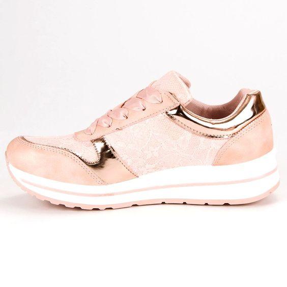 Pozostale Damskie Kayla Kayla Rozowe Sneakersy Wiazane Wstazka Sneakers Shoes Fashion