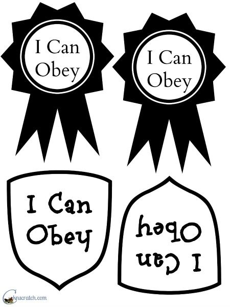 I Can Obey Badges Handout for Primary