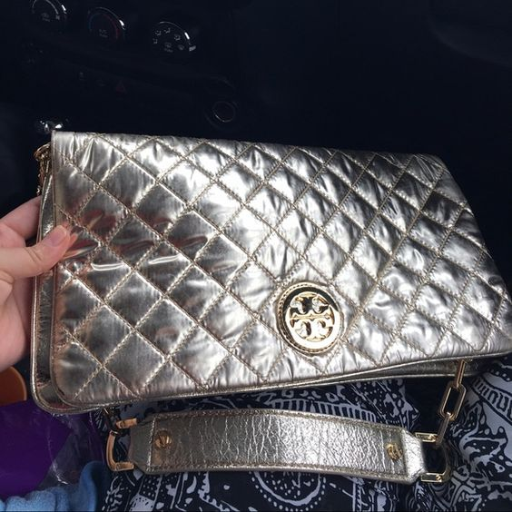 Tory Burch Gold Super chic Authentic Tory Burch quilted in gold color. Shoulder strap. Great condition Tory Burch Bags Shoulder Bags