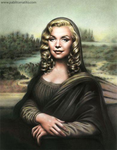 Marilyn Monroe as Monna Lisa, lol ~~ For more:  - ✯ http://www.pinterest.com/PinFantasy/gente-~-marilyn-monroe-art/