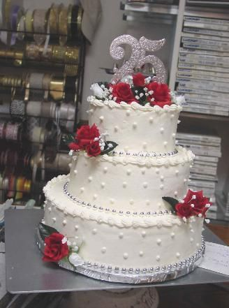 Cake Design For 25th Anniversary : 25th anniversary, Wedding anniversary cakes and Dads on ...