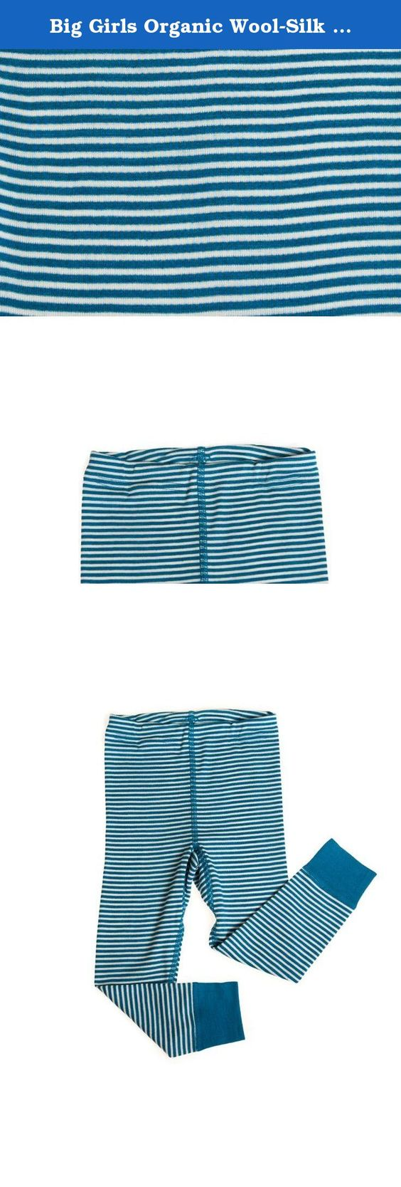 Big Girls Organic Wool-Silk Long-Underwear Pants, Blue/White ...
