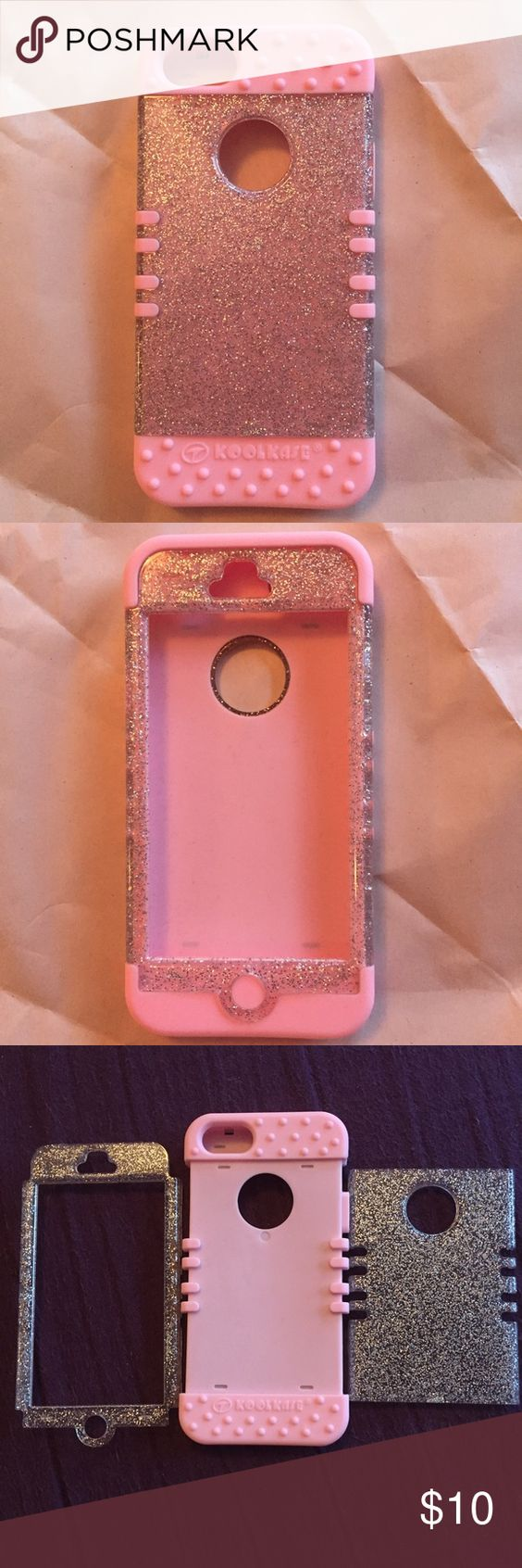 Koolkase iphone 5 light pink glitter Light pink with silver glitter. The skins are interchangeable. If you would like to mix and match with any other cases that I have please comment. Accessories Phone Cases