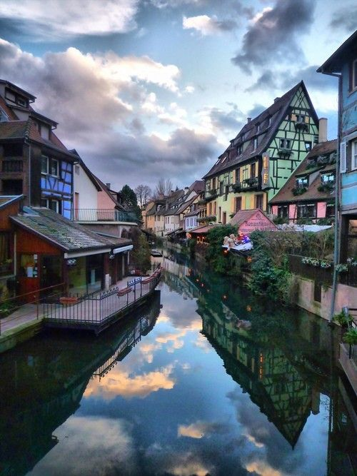 Half-Timbered Houses along Canal  Colmar, Alsace
