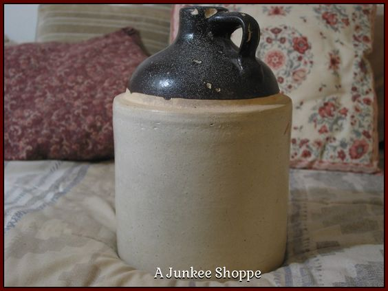 Jug Clay Crock Bottle or Antique Ceramic Stoneware 1 Gallon Whiskey Heavy Container Brown Beige   Junk0877  http://ajunkeeshoppe.blogspot.com/