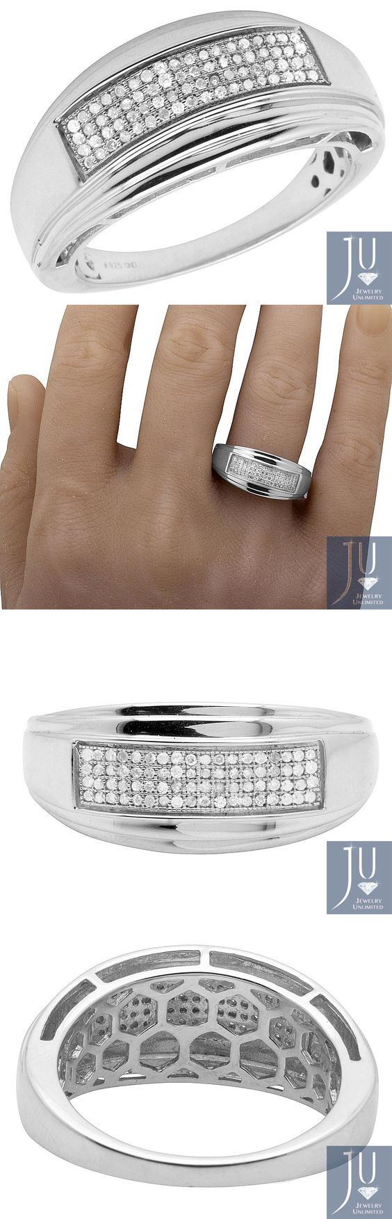 Rings 137856: Mens White Gold Sterling Silver Real Diamonds Wedding Band  Ring 020ct 10mm