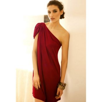 Women's Red Party Dress With Gathered One-Shoulder and Loose-Fit Design $12.37