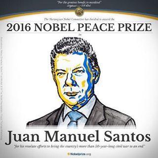 """ATENCIÓN. El presidente de Colombia Juan Manuel Santos fue galardonado este viernes con el Nobel de la Paz por sus """"esfuerzos tenaces para poner fin a una guerra civil de más de 50 años"""", pese al triunfo del no en el plebiscito sobre el acuerdo con la guerrilla de las Farc. El anuncio fue hecho a las 4:20 a.m. (hora Colombia) por la presidenta del Comité Nobel noruego, Kaci Kullmann Five."""