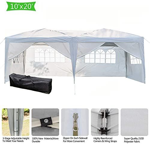 New Mtfy 10x20 Ft Outdoor Wedding Party Tent 6 Removable Sidewall 4 Windows Outdoor Canopy Tent Portable Waterproof Heavy Duty Gazebo Tent Sun Snow Rain Shelt In 2020 Canopy Tent Outdoor Gazebo Tent Gazebo