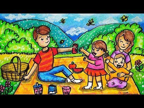 Cara Menggambar Dan Mewarnai Tema Piknik Keluarga Di Kebun