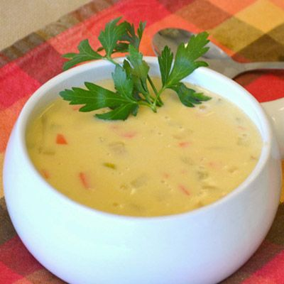 Wisconsin Cheese Soup is so cheesy and  is full of vegetables!
